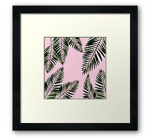 Watercolor tropical palm leaves on pink background Framed Print