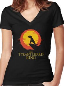The Tyrant Lizard King  Women's Fitted V-Neck T-Shirt
