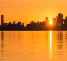 Silky Sunrise Silhouette - Torontos Skyline Over Lake Ontario Sticker