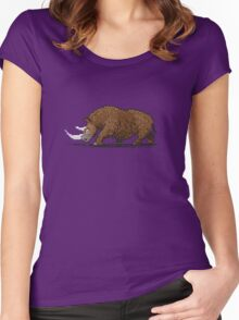Prehistoric Pixels - Woolly Rhino  Women's Fitted Scoop T-Shirt