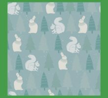 Squirrels and Christmas trees winter design Kids Tee