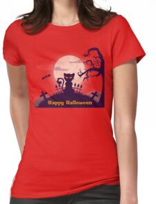 black halloween cat Womens Fitted T-Shirt