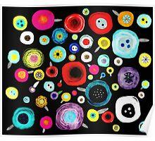 Still Life Floral Black Background Poster