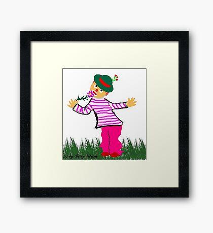 Hatschi.....Gesundheit...Junge mit Blümchen Framed Print