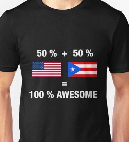 Half Puerto Rican Half American 100% Puerto Rico Flag Unisex T-Shirt