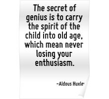The secret of genius is to carry the spirit of the child into old age, which mean never losing your enthusiasm. Poster