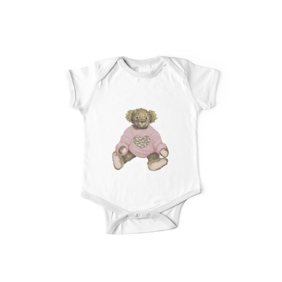 Teddy Bear with Pink Jumper by Amanda Latchmore