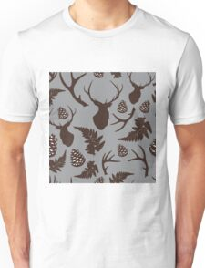 Forest pattern with deer, antler, pine cones and fern in brown Unisex T-Shirt