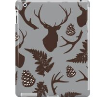 Forest pattern with deer, antler, pine cones and fern in brown iPad Case/Skin