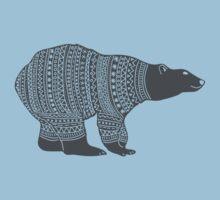Polar bear in a winter wooly jumper Christmas design One Piece - Short Sleeve