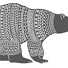 Polar bear in a winter wooly jumper Christmas design by Sandra O'Connor
