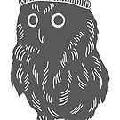 Little owl in a wooly bobble hat silhouette Christmas winter design by Sandra O'Connor