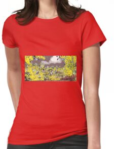yellow on gray early sky  Womens Fitted T-Shirt