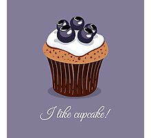 Seamless Pattern Blueberry Cupcakes Photographic Print
