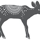 Deer fawn in winter wooly design silhouette Christmas winter design by Sandra O'Connor