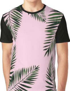 Watercolor tropical palm leaves on pink background Graphic T-Shirt
