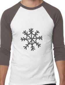 Snowflake in black Christmas winter design Men's Baseball ¾ T-Shirt