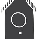 Bird house in grey silhouette Christmas winter design by Sandra O'Connor