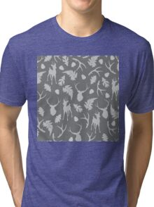 Gray forest design with deer and woodland elements Tri-blend T-Shirt