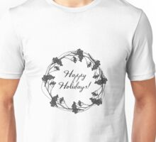 Happy holidays Christmas wreath with berries silhouette winter design Unisex T-Shirt