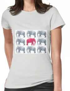 Elephants Red Womens Fitted T-Shirt
