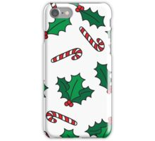 Christmas design with candy cane and holly berries pattern iPhone Case/Skin