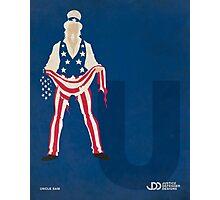 Uncle Sam - Superhero Minimalist Alphabet Print Art Photographic Print