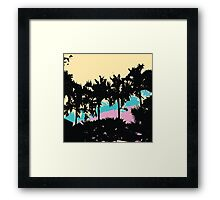 Palm Trees Modern Pink Yellow Blue Abstract Framed Print
