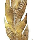 Feather in yellow green brown watercolour winter design  by Sandra O'Connor