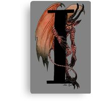 I is for Imp Watercolor Painting Canvas Print