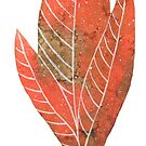 Leaf in red autumn colours watercolour winter design  by Sandra O'Connor