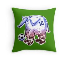 elephant the soccer player cartoon Throw Pillow