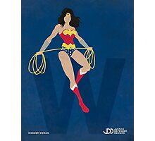 Wonder Woman - Superhero Minimalist Alphabet Print Art Photographic Print