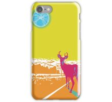 Deer in the headlights lithograph iPhone Case/Skin