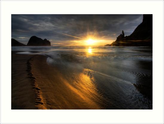 Into the sun, Piha by Michael Treloar