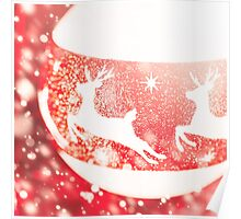 Christmas composition in white and red colors Poster