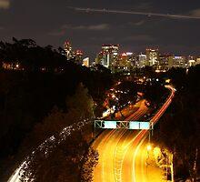 San Diego Skyline - Car trails and airplane trail by HaveANiceDaisy