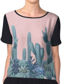 Serenity Cacti on Rose Quartz Background Chiffon Top
