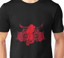 Mexican - Red Cow Skull And Flowers Unisex T-Shirt