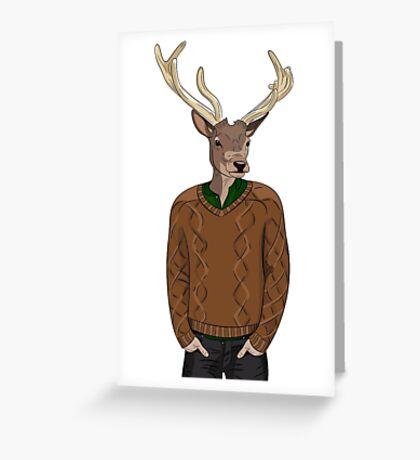 Anthropomorphic hipster deer man print Greeting Card