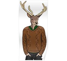 Anthropomorphic hipster deer man print Poster
