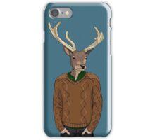 Anthropomorphic hipster deer man print iPhone Case/Skin