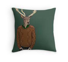 Anthropomorphic hipster deer man print Throw Pillow