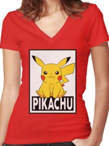 Pikachu Women's Fitted V-Neck T-Shirt