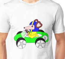 Rat sitting in a racing car Unisex T-Shirt