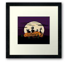 Black Cat's Pumpkin Patch Framed Print