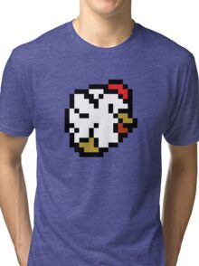 Chicken (8-bit / 16-bit / Pixelated) Tri-blend T-Shirt