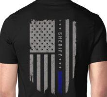 Sheriff Thin Blue Line American Flag Shirt Unisex T-Shirt