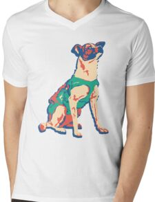Laika Space Dog Vector Russian Propaganda Pup Retro Old-Timey Vintage Mens V-Neck T-Shirt