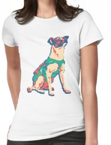 Laika Space Dog Vector Russian Propaganda Pup Retro Old-Timey Vintage Womens Fitted T-Shirt